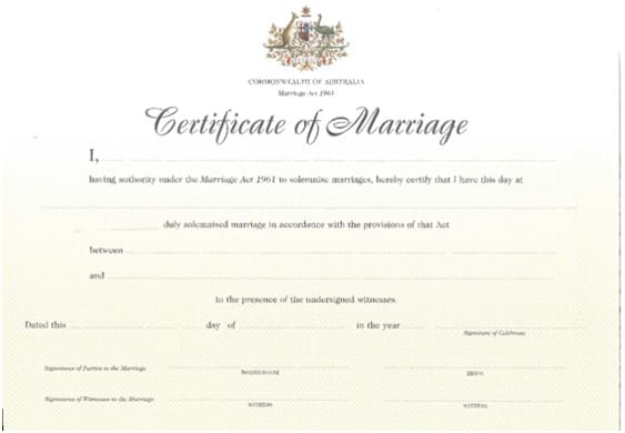 Marriage Celebrant Sydney Stephen Lee Standard Marriage Certificate