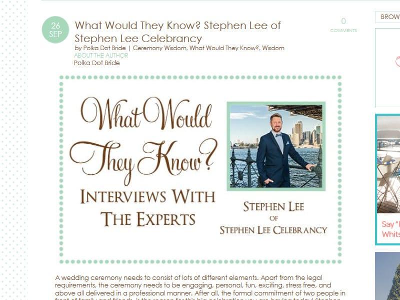 Wedding Wisdom Polka Dot Bride Sep 2016 - Stephen Lee Marriage Celebrant Sydney