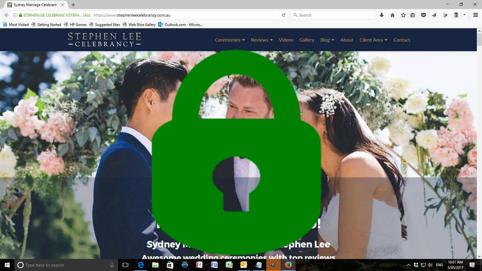 SLC Website with Green Padlock - Sydney Marriage Celebrant Stephen Lee