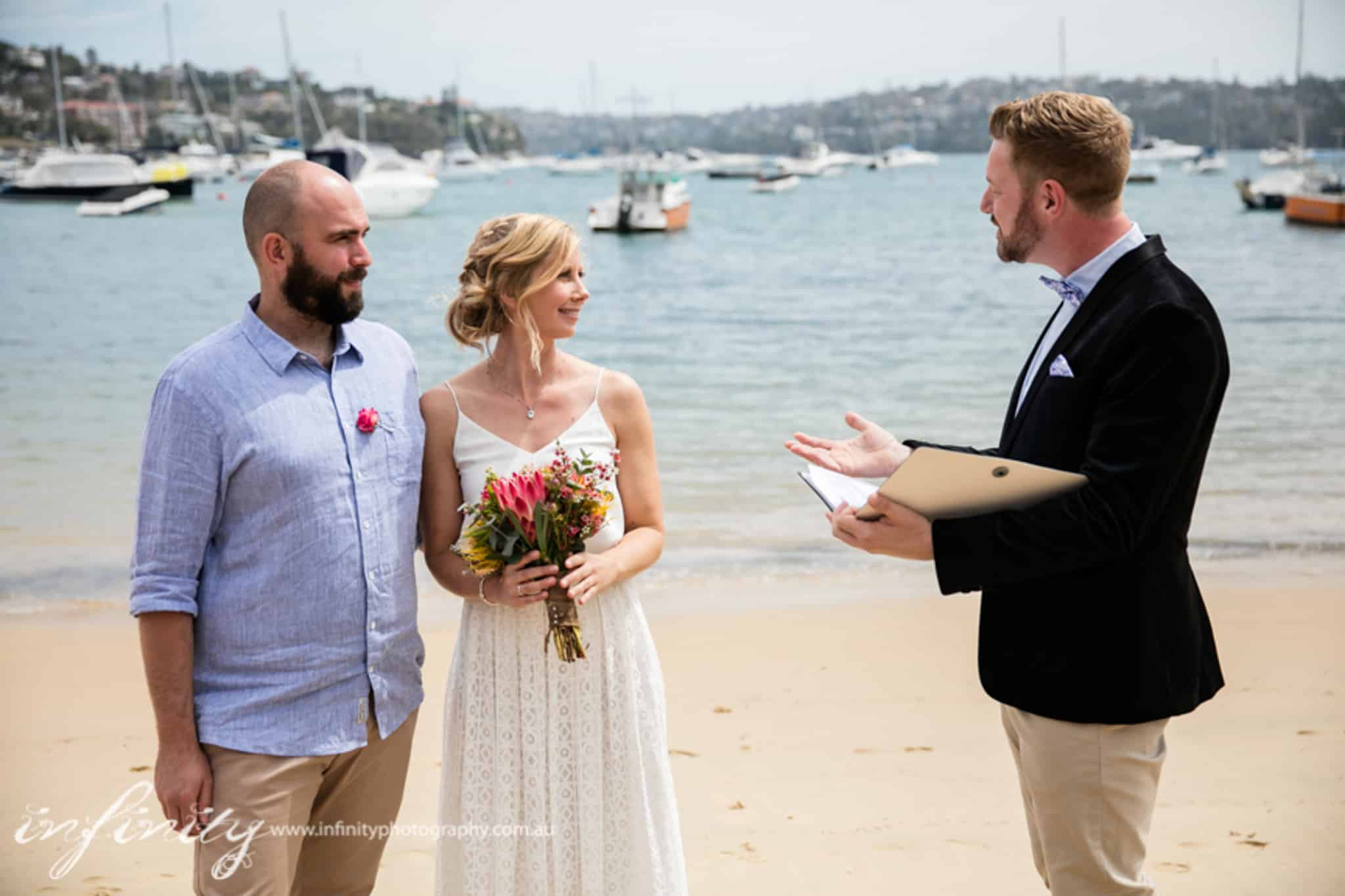 Kiss Me Quick Beach Wedding - Male Sydney Marriage Celebrant Stephen Lee