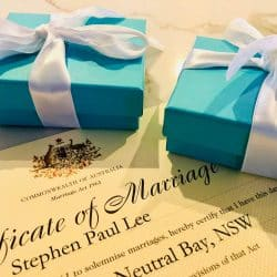 Sydney Marriage Celebrant Rings and Certificate