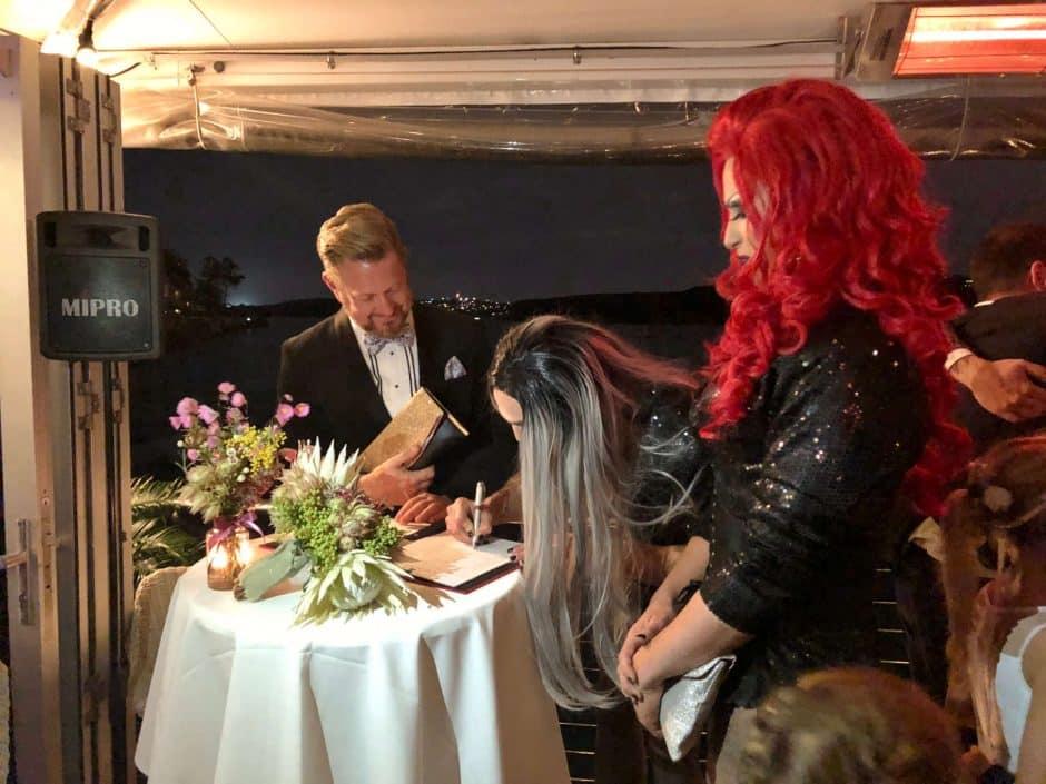 Drag Queens signing Marriage Register - Stephen Lee Sydney Marriage Celebrant