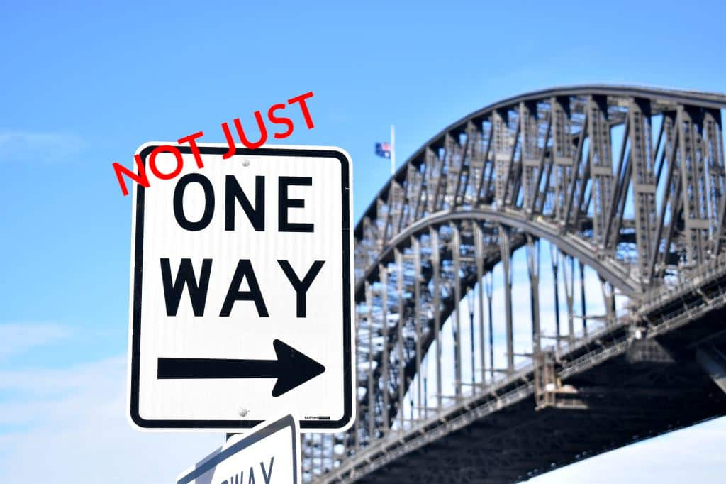 Sydney Harbour Bridge One Way Sign - Stephen Lee Marriage Celebrant Sydney