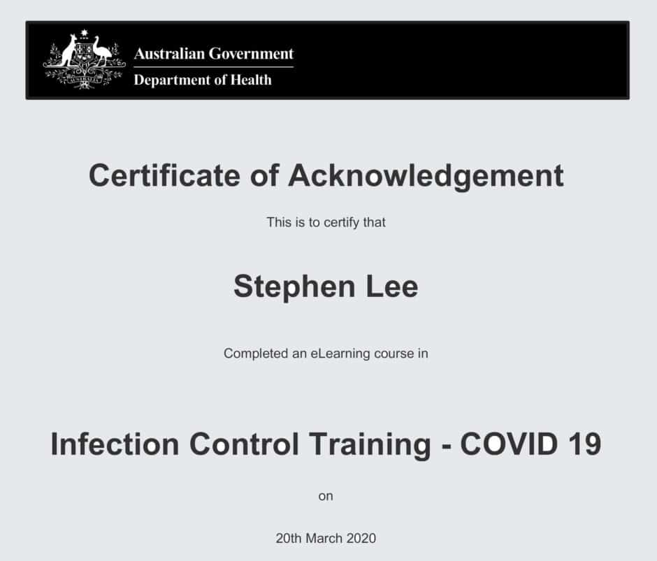 COVID19 Training Certificate - Stephen Lee Marriage Celebrant Sydney Wedding